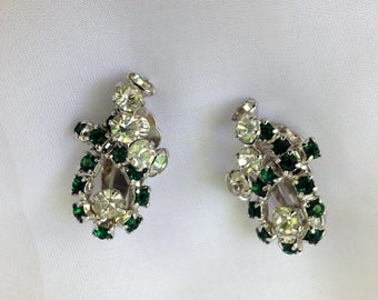 Vintage Green and Clear Rhinestone Earrings, Bridal, Shoe Trimming,  Hair Adornment