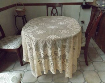 "90"" Huge Large lace cloth tablecloth rectangular.Light orange.New old stock.Easy care.Banquet.Home decor.American decor. Gift idea"