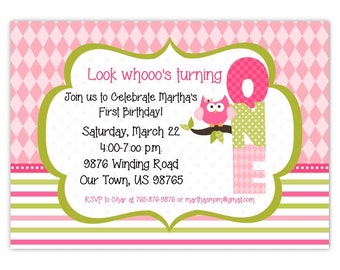 First Birthday Invite Owl Invitation Printable