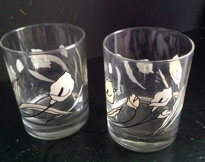 Featured listing image: vintage set of four mid-century Calla lily white & black high ball on the rocks drinking liquor bar glasses