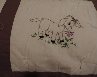 Hand Embroidery Donkey Quilt. Handmade & Hand Tied. Brown