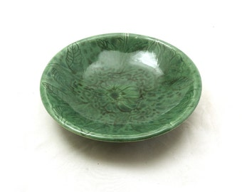 Celedon Flora Bowl Hand Carved Pottery