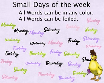Small days of the week stickers