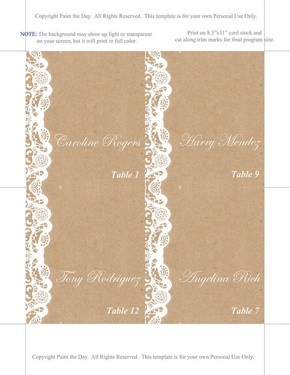 Fold Over Wedding Place Card Template Kraft Escort Card - Reserved place card template