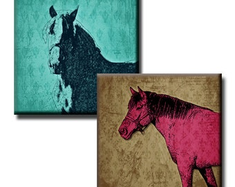 Horses on Pinks, Blues & Browns - 1 inch squares - Digital collage sheet