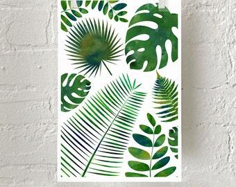 Leaf Print, Fern Palm Green Wall Art, Nature Watercolor, Botanical Art, Botanical Print, Minimalist poster, Scandinavian Art, Plants Boho