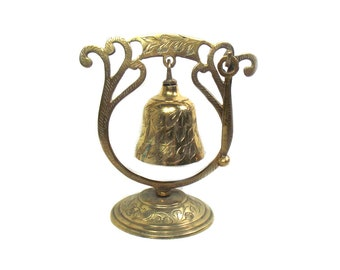 Vintage Brass Dinner Gong with Stand, Indian Brass Bell and Hammer, Hanging Brass Bell, Decorative Brass Shop Bell, Vintage Brass Hall Decor