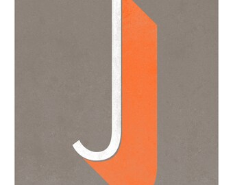 The Letter J, Original Art Print, Typography, Alphabet, Orange, White, Gray