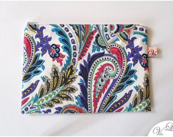 Beautiful clutch make up cosmetic toiletry bag pouch pencil case gift trend must have spring summer pattern paisley colourful pink lilac