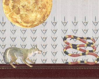 Fox & Snake Vintage Bookcover Collage-Original Art