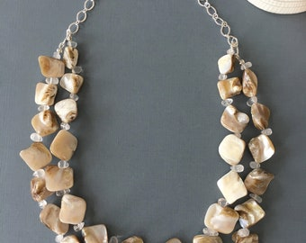 Natural Shell Statement Necklace, Silver Necklace, River Bead Necklace, Quartz Necklace, Multi Strand Necklace