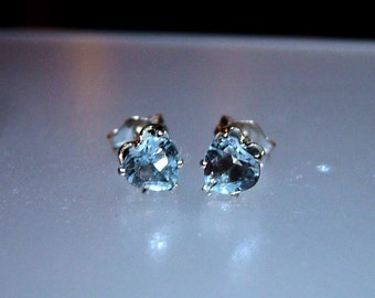 Heart Aquamarine Stud Earrings 0.78ct March Birthstone Studs Natural Gemstone Earrings