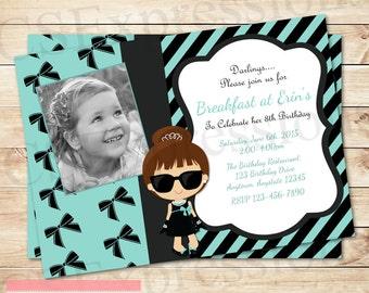 Chic Girly Blue Breakfast Photo Birthday Invitation