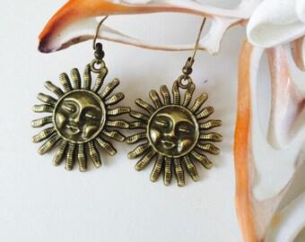 Antique Brass Sun Earrings.