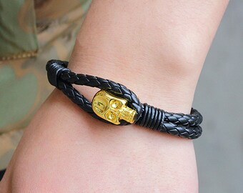 "Alexander McQueen ""INSPIRED"" braided Leather Bracelets gold Skull Wrap Bracelet"