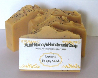 Lemon Poppy Seed Handmade Carrot Soap - Bath Soap, Kitchen Soap, Gardeners Soap, Chefs Soap - Lemon Scented Soap with Whole Poppy Seeds
