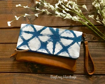 Fold Over Clutch -  Navy Shibori with Vegan Leather - Detachable Wristlet