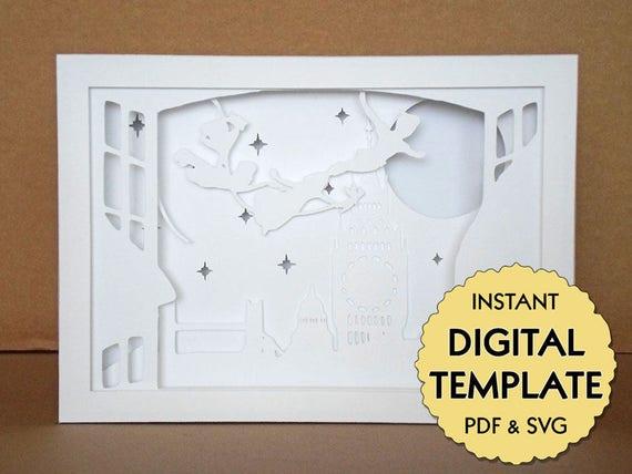 Template Peter Pan Paper Cut File, Silhouette Light Box Tutorial - PDF, SVG Digital Download ...
