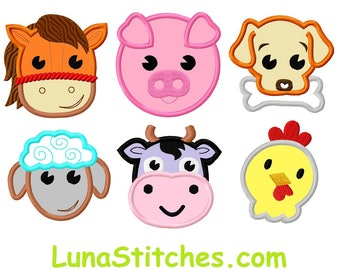 Farm Animal Horse Dog Sheep Pig Cow chicken Face APPLIQUE Embroidery Design 4 sizes each  INSTANT DOWNLOAD