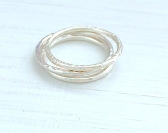 Silver stacking rings, stacking ring set, simple stacking ring, beaten stacking ring, hammered silver ring, ring size P