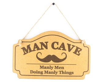 Man cave sign - manly men doing manly things funny wooden sign - mancave gift for men - shed sign - Gift for dad Grandad Uncle Brother