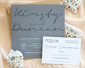 Grey, dark square Wedding Invitation with matching RSVP - Sample