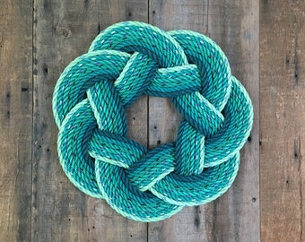Fields of Green Rope Wreath, Upcycled lobster rope, Maine made, Nautical wreath, Spring wreath, Nautical decoration