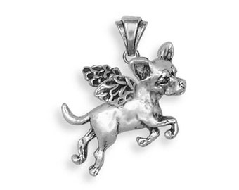 Sterling Silver Chihuahua Angel Dog Jewelry  CHW4A-P