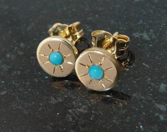 Turquoise stud earrings, gold filled celestial Starry-eyed starburst design