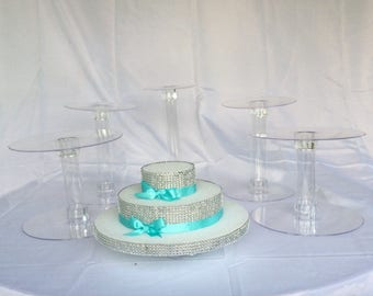 5 Cake Stand Set for Wedding Cake Displays 2 inch gap / Cascade Cake Set - XL