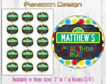 "Street Sign - Personalized Favor Tags, Cupcake Toppers, Bottle Caps 1"" / 2"" / Kisses size - polka dot, blackboard - Printable Digital File"