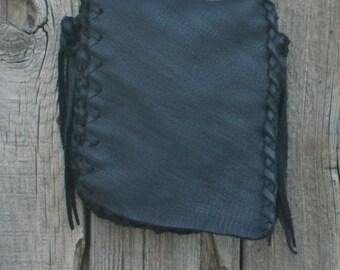 Small black leather handbag , Handmade handbag , Black leather purse