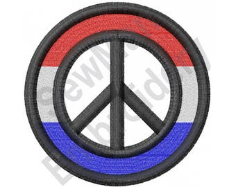 Red, White & Blue Peace Sign - Machine Embroidery Design, Peace Sign, Peace, Red White and Blue