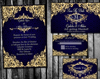 Elegant Royal Blue and Gold Wedding Invitation, Save the Date, RSVP, and Thank You Digital File Kit  classic filigree damask Printable