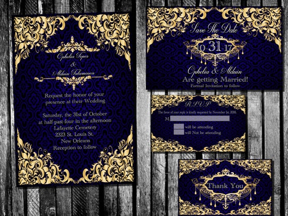 Royal Blue And Gold Wedding Invitations: Elegant Royal Blue And Gold Wedding Invitation Save The Date
