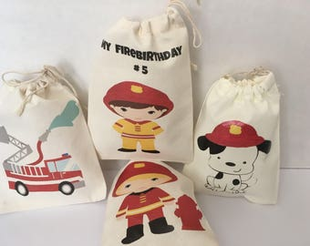 Favor bags : Firefighters . Firefighters goodies bag. Firefighters party. 5x7