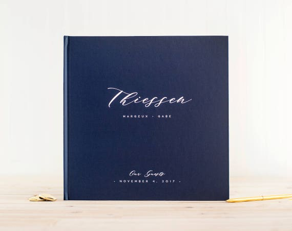 Wedding Guest Book wedding book navy wedding guestbook 12x12 personalized hardcover guestbook planner lined black pages instant photo booth
