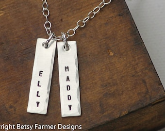 Two Names - Hand Stamped Jewelry - Rectangle Tags - Mommy Necklace Sterling Silver