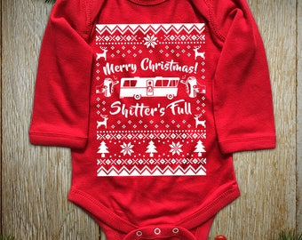 "New ""Merry Christmas Shitter's Full"" Unisex Long Sleeved Onesie & Toddler T-Shirts for Christmas Party, Thanksgiving Family Party"