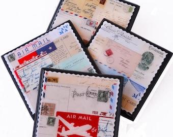 Airmail postage drink coaster set, carte postale collage wood coasters, par avion stamp art, travel decor, hostess gift, french ephemera