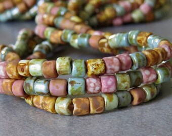 Picasso Pink Medley 6/0 Aged Tile Czech Glass Seed Bead Mix : 20 inch Strand 4mm Pink Bead Mix
