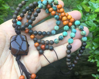 108 Bead Partially Handknotted Spiritual Junkies Agarwood, Redwood, African Turquoise + Macrame Carnelian Yoga + Meditation Mini Mala