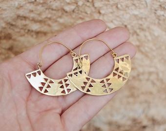 Boho Jewelry, Fan Earrings, Gold Hoop Earrings, Brass Earrings, Aztec Earrings, Tribal Earrings, Indian Brass Earrings, Boho Earrings