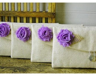 Set of 7 -ONE BAG FREE- Bridesmaid Clutch Purse, burlap shabby Linen, Bridesmaids Gift, Wedding purse clutch raw linen Personalize MakeUp