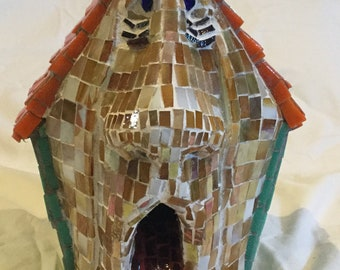 Mosaic Dog Birdhouse housewarming, garden, art, housewarming gift