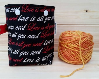 All You Need Is Love Ball Sack for up to DK Weight -- Yarn Holder for Inside Project Bags Handmade