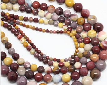 "Mookaite Beads Gemstone Smooth round beads strand 8mm, 10mm, Natural Colorful beads Jewelry making, beading supplies 15.5"" Full Strand"