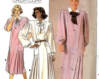 Vintage Misses Straight Dress with Upper Panels and Lower Side Pleats, Size 10, Butterick 3525