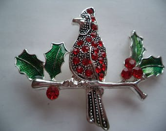 Fabulous Unsigned Vintage Silvertone Red Rhinestone Cardinal on Branch Brooch/Pin