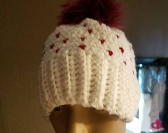 Crocheted Heart Hat with Faux Fur Pom